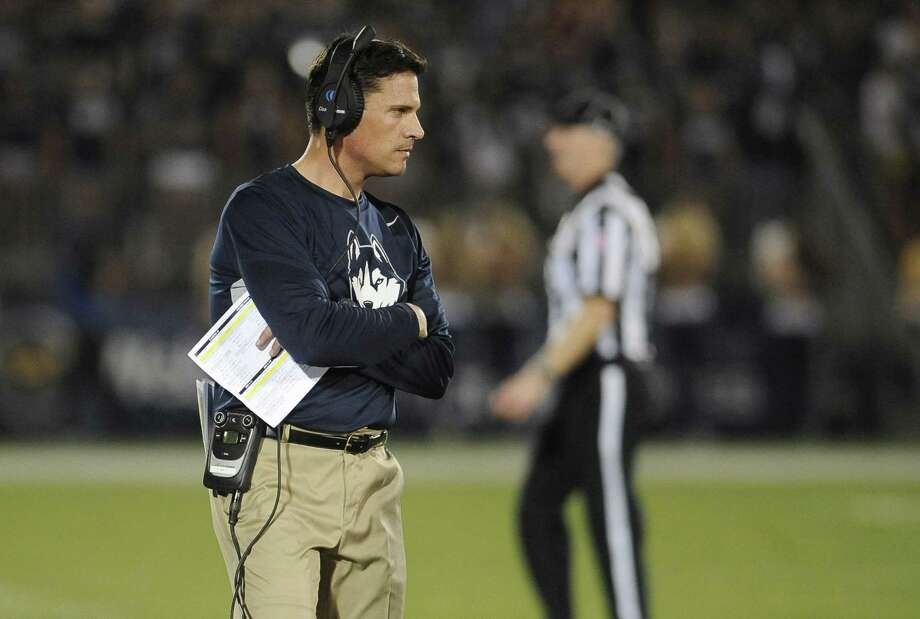 Connecticut head coach Bob Diaco during the second half of an NCAA college football game at Pratt & Whitney Stadium at Rentschler Field against Villanova, Thursday, Sept. 3, 2015, in East Hartford, Conn. UConn won 20-15. (AP Photo/Jessica Hill) Photo: AP / AP2015