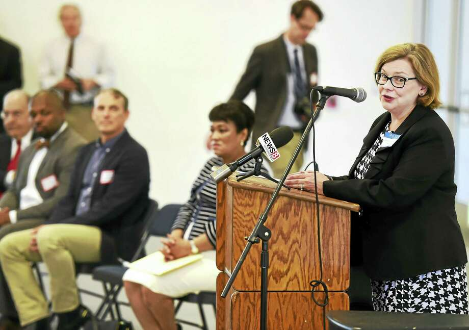 Connecticut Education Commissioner Dianna Wentzell, right, speaks during the celebration of an opening of a new building Thursday on the Common Ground High School. The new building adds two science labs, an art studio and a performance and athletic space to the school's New Haven campus. Photo: Peter Hvizdak — New Haven Register   / ©2016 Peter Hvizdak