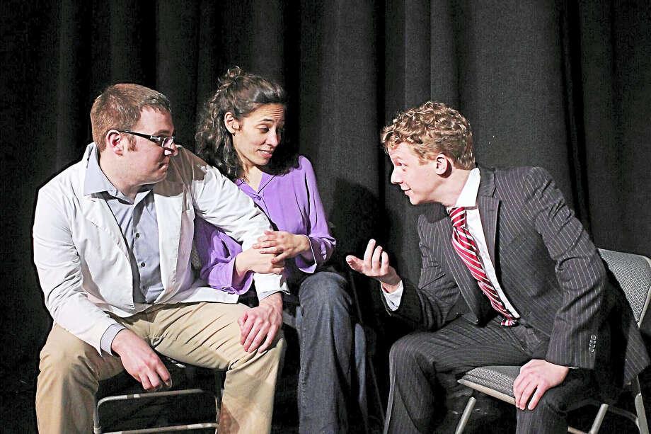 Jim Norton of Stratford, left, Taryn Chorney of Hamden, and Ryan Hendrickson of Stamford star at the Milford Arts Center. Photo: MAC Photo