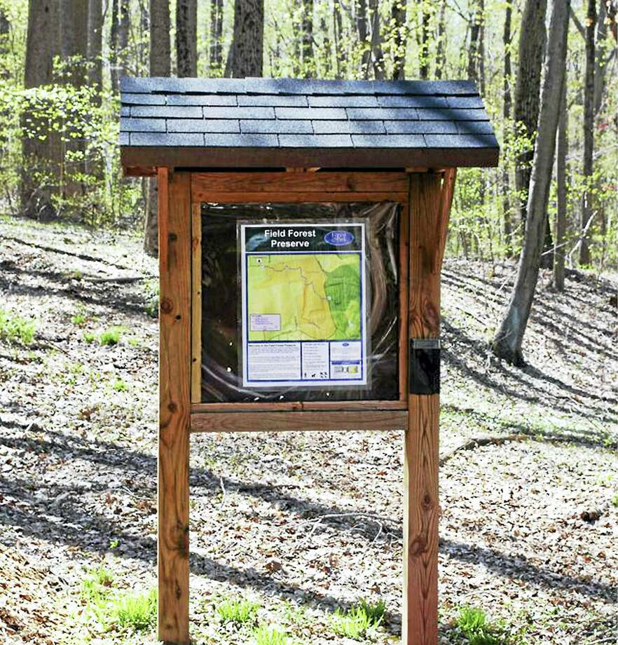 A kiosk at the blue-blazed hiking trail through Field Forest in Durham. Photo: CFPA Photo