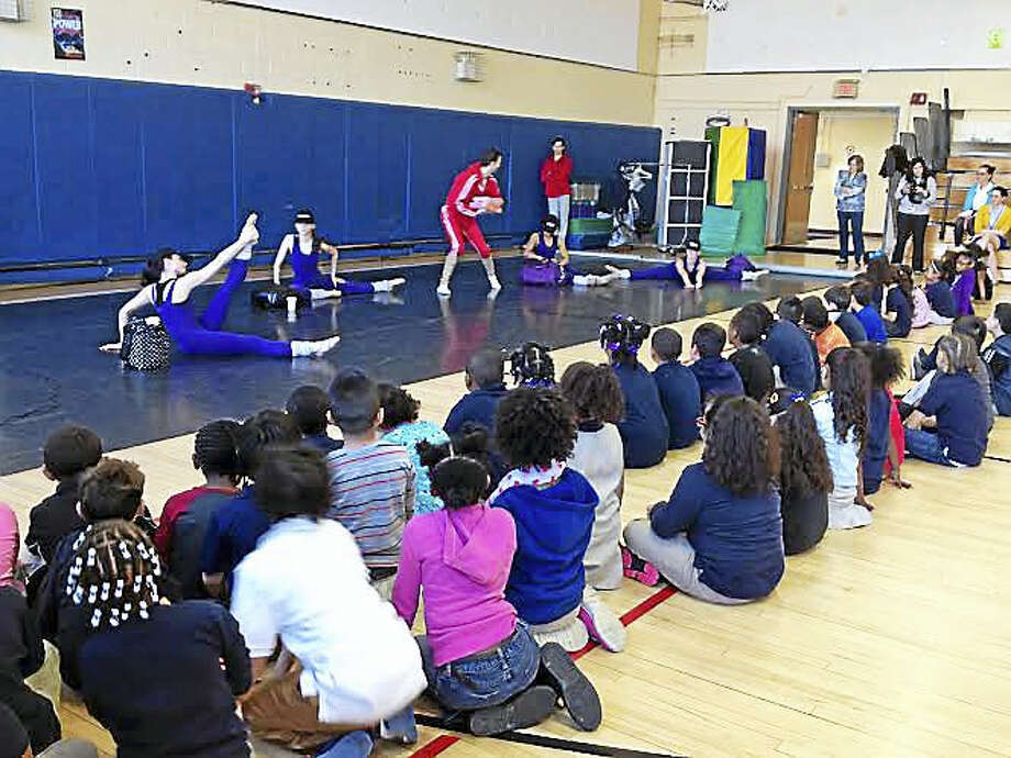Dancers with the Connecticut Ballet perform a jazz routine about avoiding unhealthful foods at Conte-West Hills School Wednesday. Photo: Brian Zahn — New Haven Register