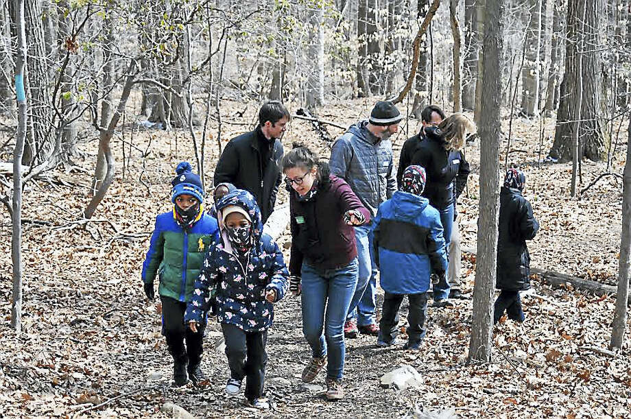 Second-graders from Brennan-Rogers Magnet School on their hike Wednesday, April 6. Photo: Contributed Photo