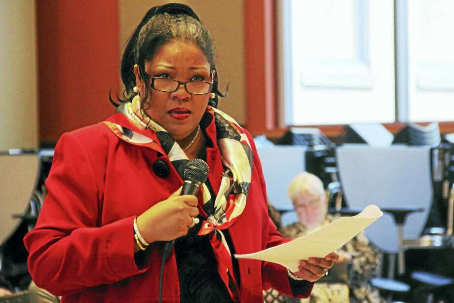 Nichole Jefferson speaks during a Board of Alders' Finance Committee public hearing Thursday at the Augusta Lewis Troup School auditorium in New Haven. Photo: Esteban L. Hernandez — New Haven Register