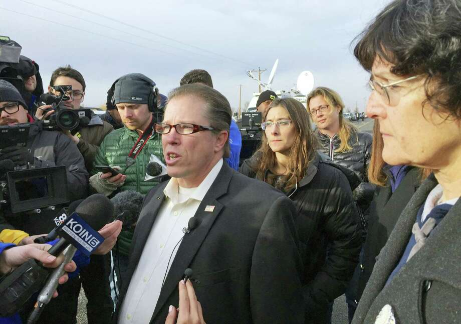 From left, Nevada Assemblyman John Moore, Idaho Rep. Heather Scott and Idaho Rep. Judy Boyle speak to reporters outside the Malheur Wildlife Refuge during the standoff near Burns, Ore., Thursday, Feb. 11, 2016. The end of a nearly six-week-long standoff at an Oregon wildlife refuge played out live on the internet, with tens of thousands of people listening as supporters encouraged the last armed occupiers to surrender. The holdouts surrendered Thursday, having refused to leave the refuge after the group's leaders were arrested last month. Photo: AP Photo/Rebecca Boone / AP