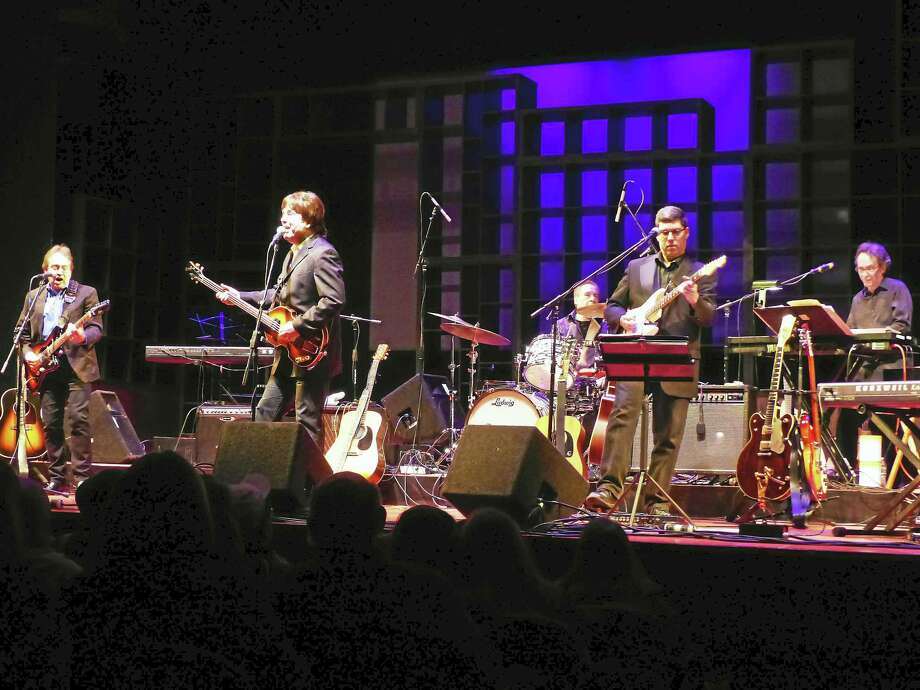 Lenie Colacino, second from left, as Paul in the McCartney tribute band. Photo: Contributed
