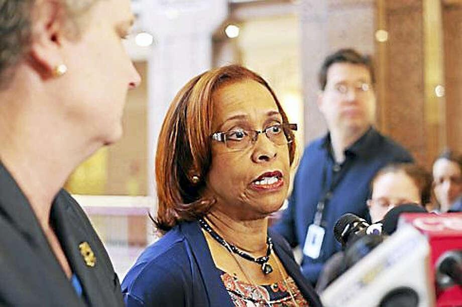 Rep. Toni Walker talks about the budget proposal. Photo: Christine Stuart — CT NEWS JUNKIE