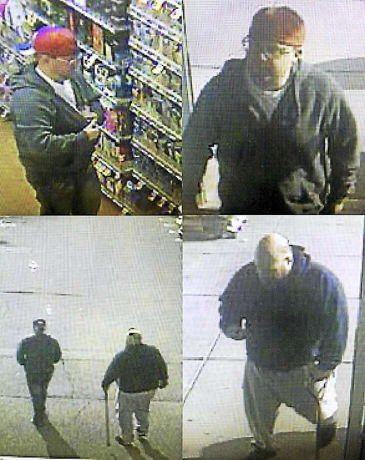 Police are trying to find two men who allegedly stole more than $800 worth of razors and allergy medication from the Clinton Stop & Shop earlier this week. Photo: Courtesy Clinton Police