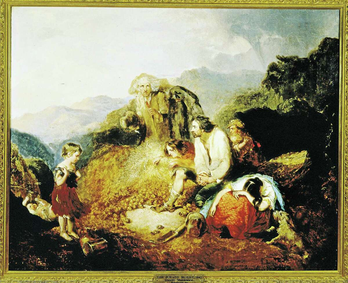 """Daniel Macdonald's """"An Irish Peasant Family Discovering the Blight of their Store."""""""