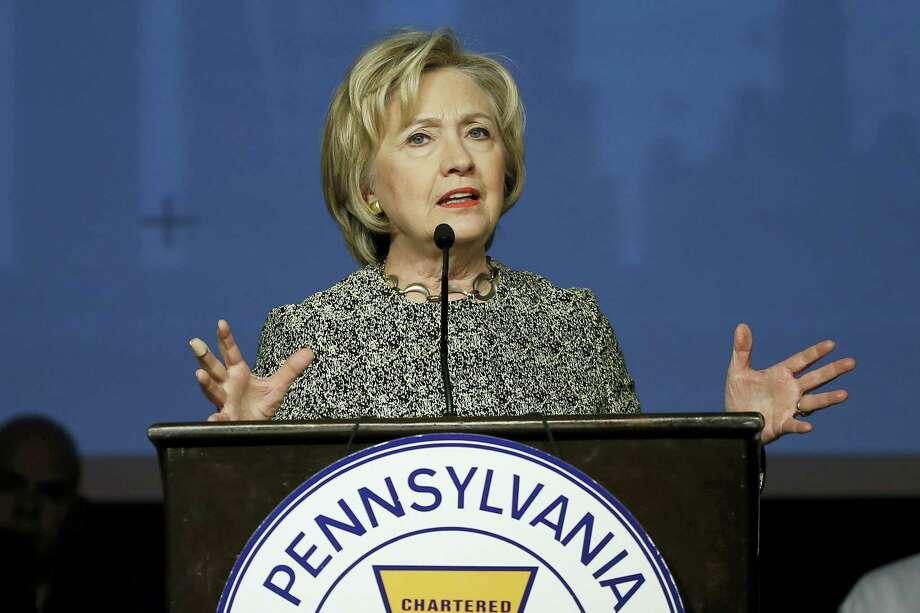 Democratic presidential candidate Hillary Clinton speaks Wednesday at the Pennsylvania AFL-CIO Convention in Philadelphia. Photo: Matt Rourke — The Associated Press   / AP
