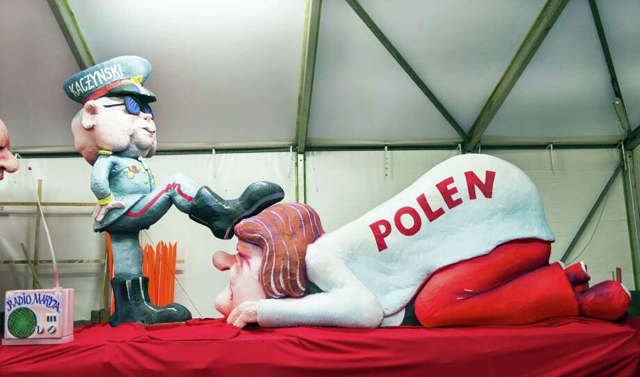 The Feb. 8, 2016, photo shows a carnival float in Duesseldorf, western Germany, titled 'Change of government in Poland' depicting a figure of Jaroslaw Kaczynski, chairman of the Prawo i Sprawiedliwosc (PiS, also known as 'Law and Justice') party, on Rose Monday. Poland's foreign minister said Feb. 9, 2016, that Poland plans to ask the German government about the recent float that satirized Jaroslaw Kaczynski, the leader of Poland's ruling party. Photo: Monika Skolimowska/dpa Via AP    / dpa