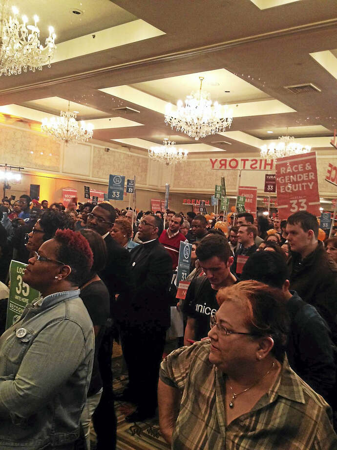 View of Omni Hotel room where more than 1,000 elected officials, graduate students and representatives from unions at Yale University met at a founding convention for Local 33 of Unite HERE Wednesday in hopes of negotiating with the university. Photo: Mary O'Leary — New Haven Register