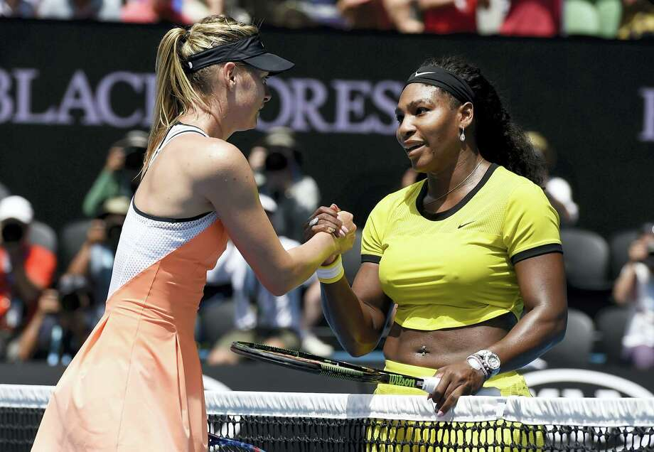 "Serena Williams, right, says Maria Sharapova ""showed a lot of courage"" in taking responsibility for her failed drug test. Photo: The Associated Press File Photo   / AP"