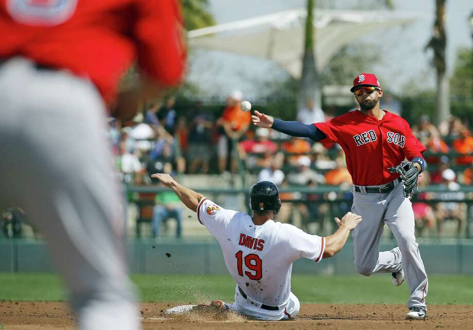 Red Sox second baseman Deven Marrero, right, throws to first for a double play to end the first inning on Tuesday. Photo: Patrick Semansky — The Associated Press   / Copyright 2016 The Associated Press. All rights reserved. This material may not be published, broadcast, rewritten or redistributed without permission.