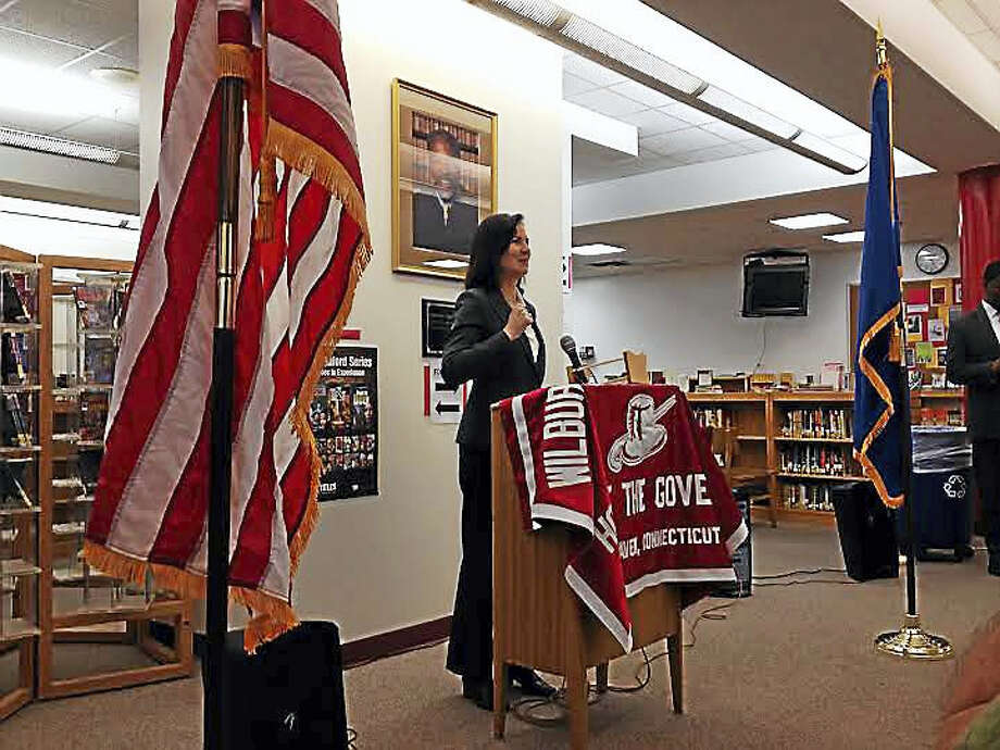 U.S. Attorney Deirdre M. Daly speaks with students at Wilbur Cross High School about her career Photo: BRIAN ZAHN — NEW HAVEN REGISTER