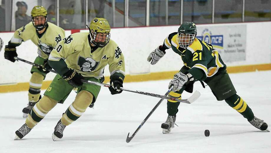 Notre Dame-West Haven's Doug Caliendo (left) in a game earlier this season. He's one the top five players to watch in this year's CIAC tournaments. Photo: Photo Peter Hvizdak — New Haven Register   / Peter Hvizdak