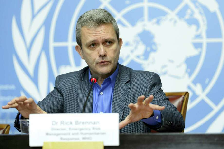 Rick Brennan, WHO director of emergency risk assessment and humanitarian response, speaks during a press conference at the European headquarters of the United Nations, in Geneva, Switzerland on Jan. 14, 2016. The World Health Organization declared an end to the deadliest Ebola outbreak ever after no new cases emerged in Liberia, though health officials warn that it will be several more months before the world is considered free of the disease that claimed more than 11,300 lives over two years. Photo: Martial Trezzini/Keystone Via AP   / KEYSTONE
