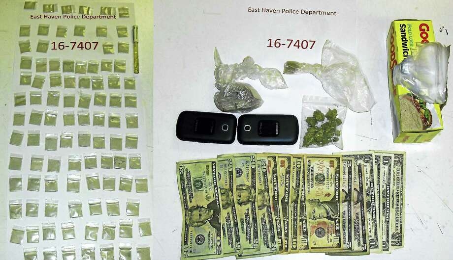 East Haven police say they seized dozens of bags of illegal narcotics after a New Haven man tried to flee officers late Monday night. Photo: Courtesy Of East Haven Police Department