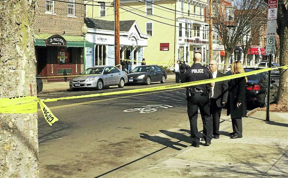 Grand Avenue was shut down Tuesday afternoon between Atwater and East Pearl streets in Fair Haven after a shooting. Photo: Wes Duplantier — New Haven Register