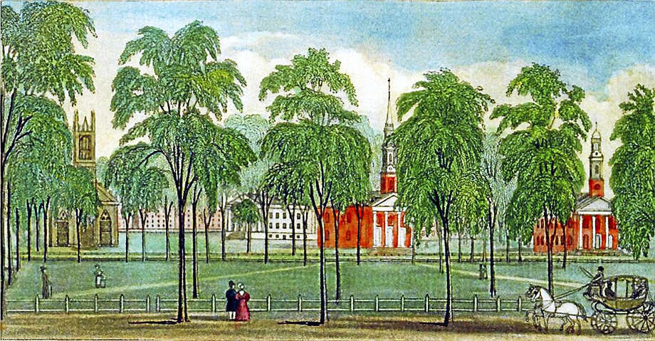 An early image of the New Haven Green showing the three churches. Photo: Journal Register Co.