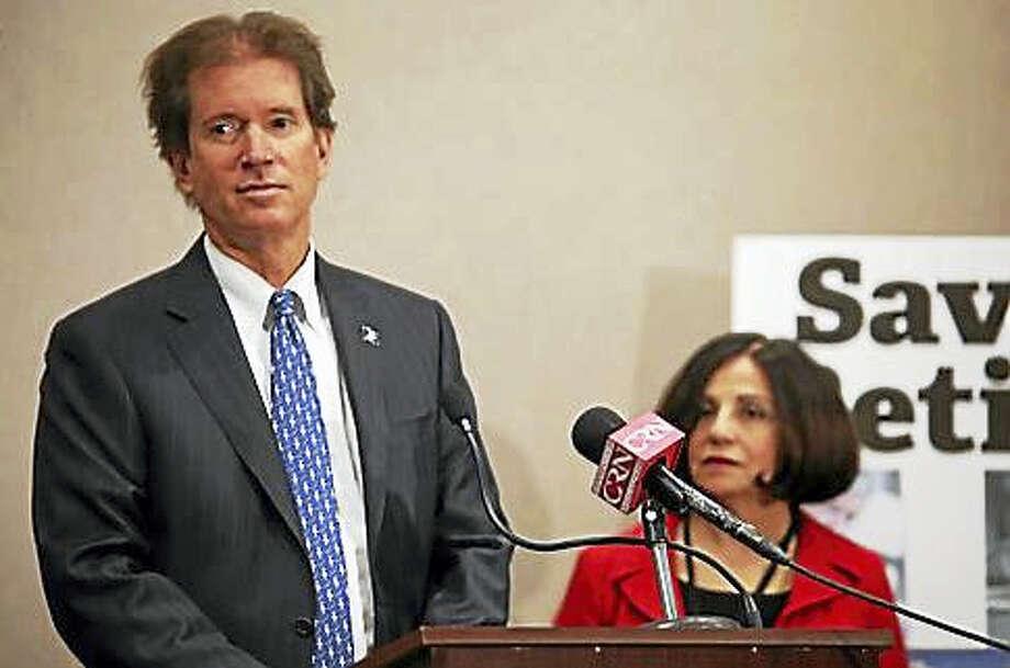 Sen. L. Scott Frantz and Sen. Toni Boucher pitch a public retirement alternative. Photo: Christine Stuart — CT News Junkie