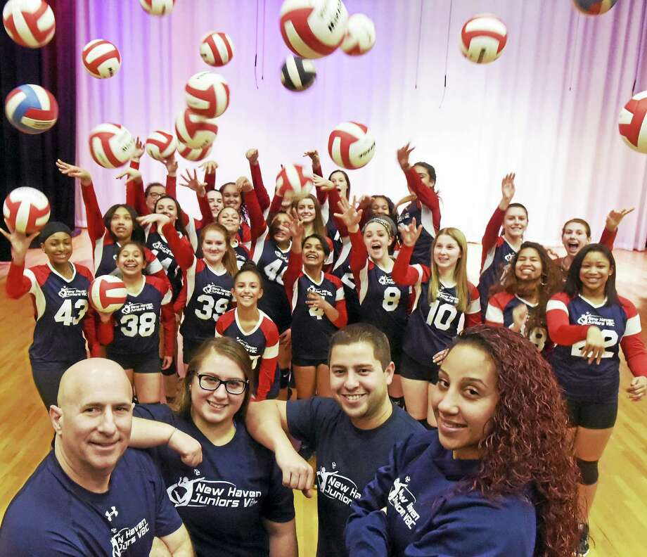 The New Haven Juniors Volleyball Team, ages 13-18, with their coaches, from left, Steve Wydra, Leanna Velez, Omar Ramirez and Vanessa Rosario, Friday, March 4, 2016. Photo: Peter Hvizdak — New Haven Register   / ©2016 Peter Hvizdak