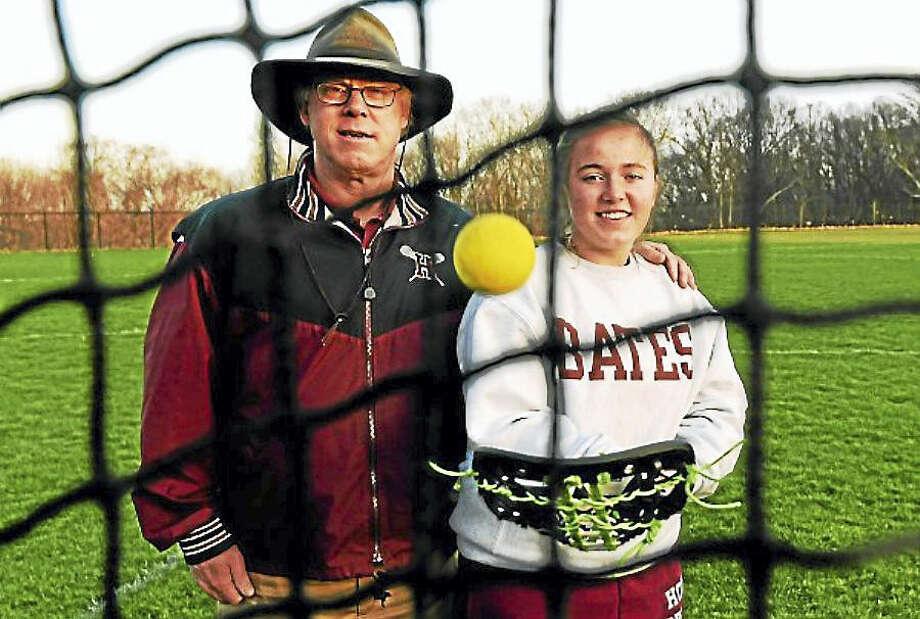 Hopkins boys lacrosse coach Sandy MacMullen with his daughter, Hopkins girls lacrosse player Avery MacMullen at Hopkins. Photo: Peter Hvizdak — New Haven Register
