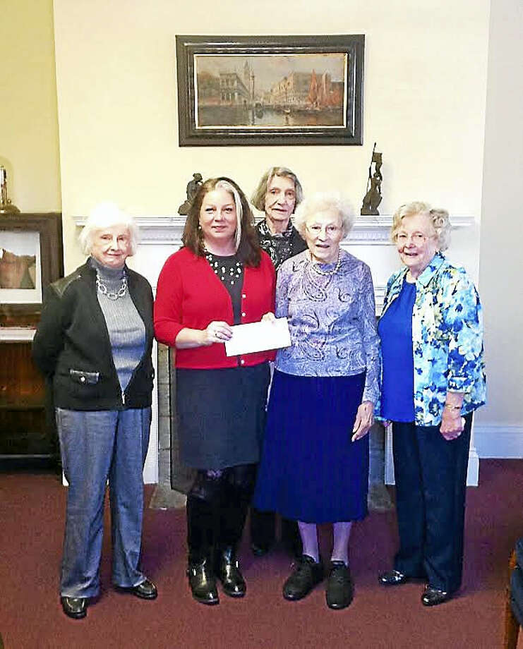 Albertus Magnus College Vice President for Development and Alumni Relations Carolyn Behan Kraus, second from left, and members of the former New Haven Woman's Club, from left, Mary Jane Conroy, Irene Haller, Janet Burblis and Pauline Mower. Photo: CONTRIBUTED PHOTO