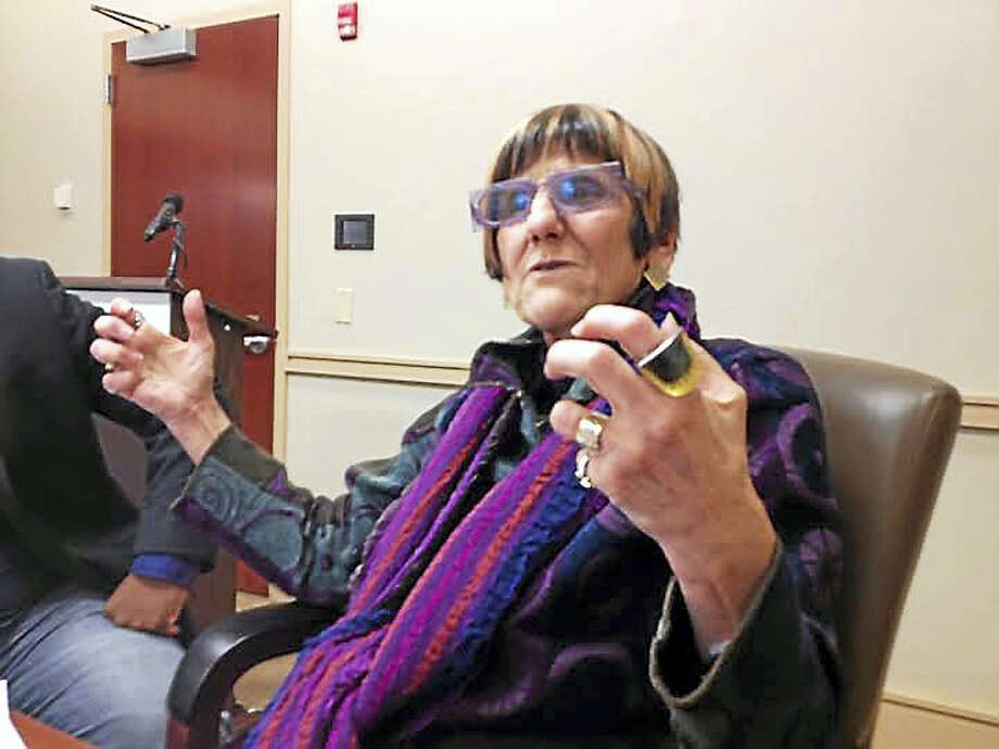 U.S. Rep. Rosa L. DeLauro, D-3, meets with members of the media after a meeting with state college presidents Monday. Photo: Brian Zahn — New Haven Register