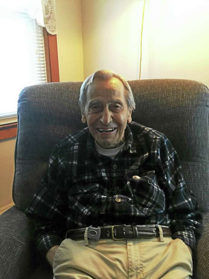 Joseph Grandel in his Branford home. He turns 100 Tuesday. Photo: CONTRIBUTED PHOTO