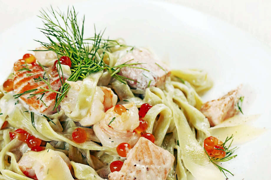 An elegant dusting of salmon caviar adds to the luxurious presentation of this pasta dish. Photo: Seriously Simple   / Maksim Shebeko - Fotolia