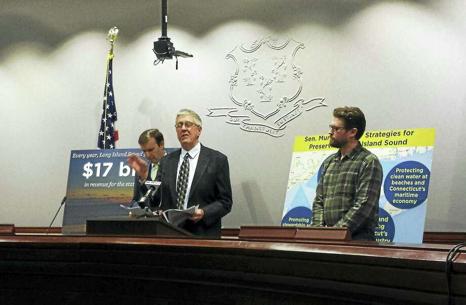 Curt Johnson, executive director of Connecticut Fund for the Environment Save the Sound, talks about the importance of increased funding to research and cleanup programs targeted at restoring the Sound. Photo: (Anna Bisaro - New Haven Register)
