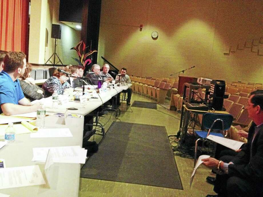 West Haven Mayor Ed O'Brien, right, discusses the proposed West HavenHigh School project with the Board of Education Monday night. Photo: Journal Register Co.