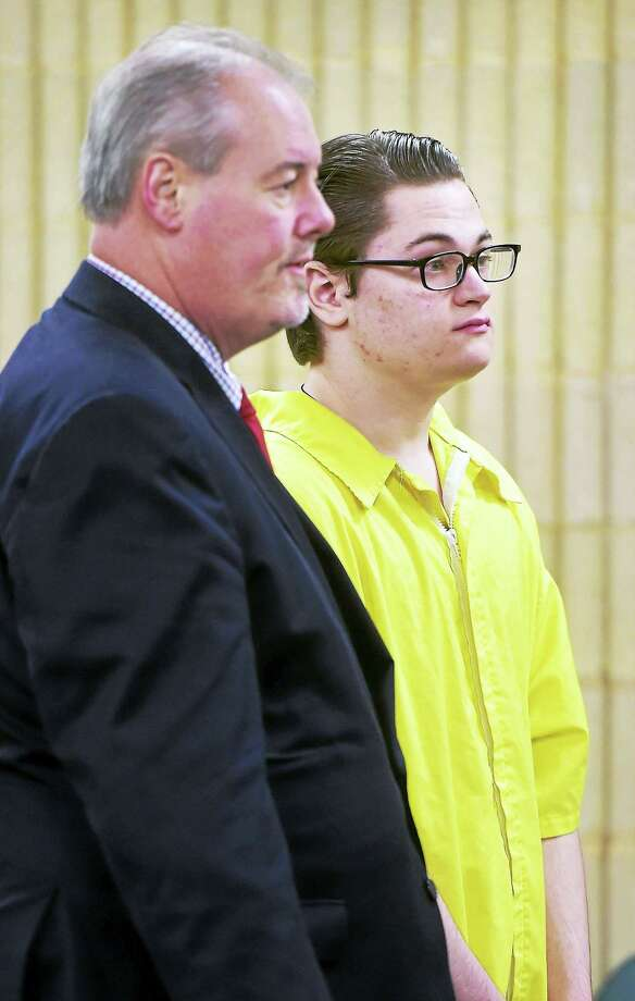 (Arnold Gold-New Haven Register)  Attorney Edward Gavin (left) speaks with his client, Christopher Plaskon, at a brief hearing in Superior Court in Milford on 2/23/2016. Photo: Journal Register Co.