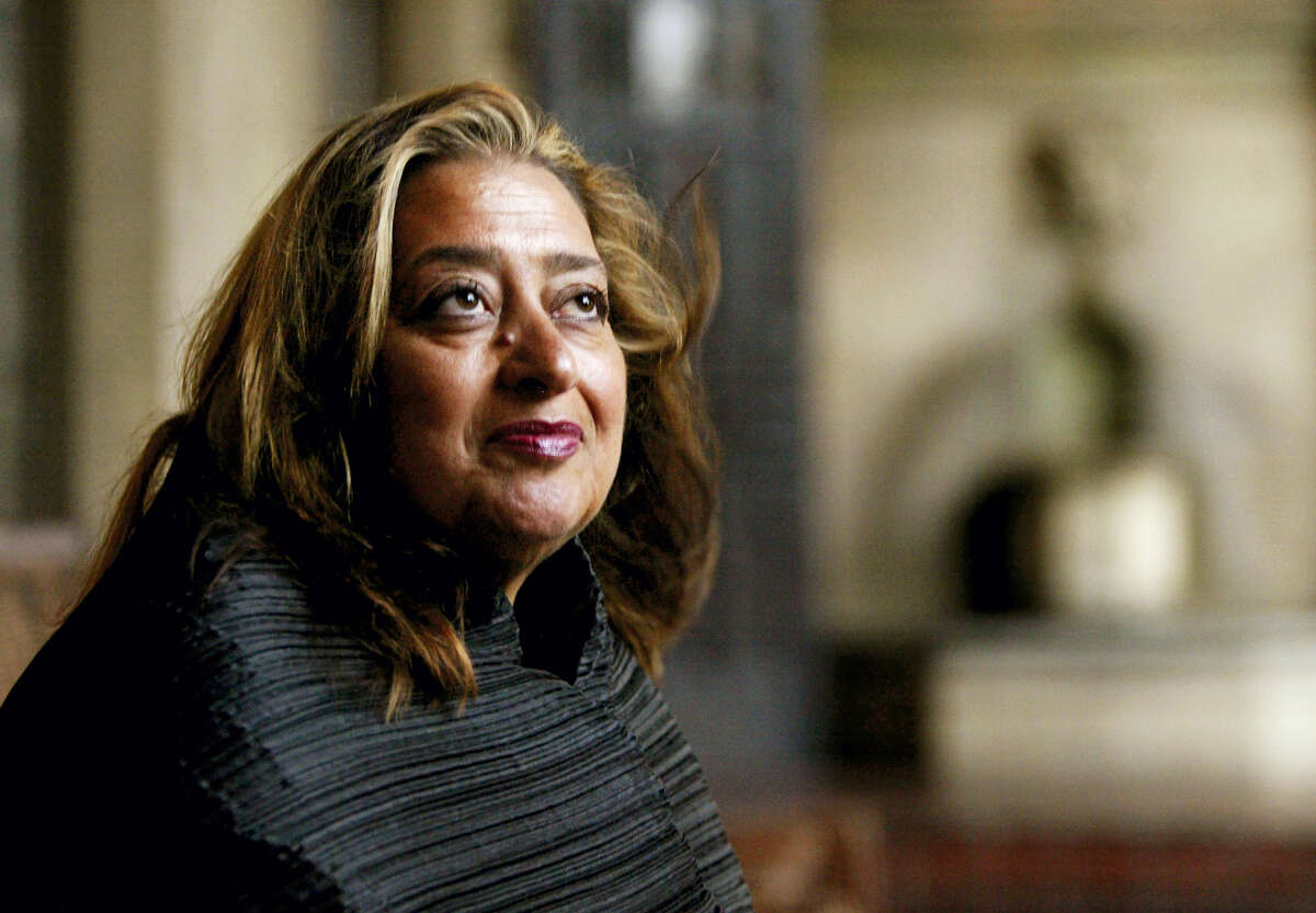 In this March 21, 2004 file picture, Iraqi-British architect Zaha Hadid poses in West Hollywood, Calif.