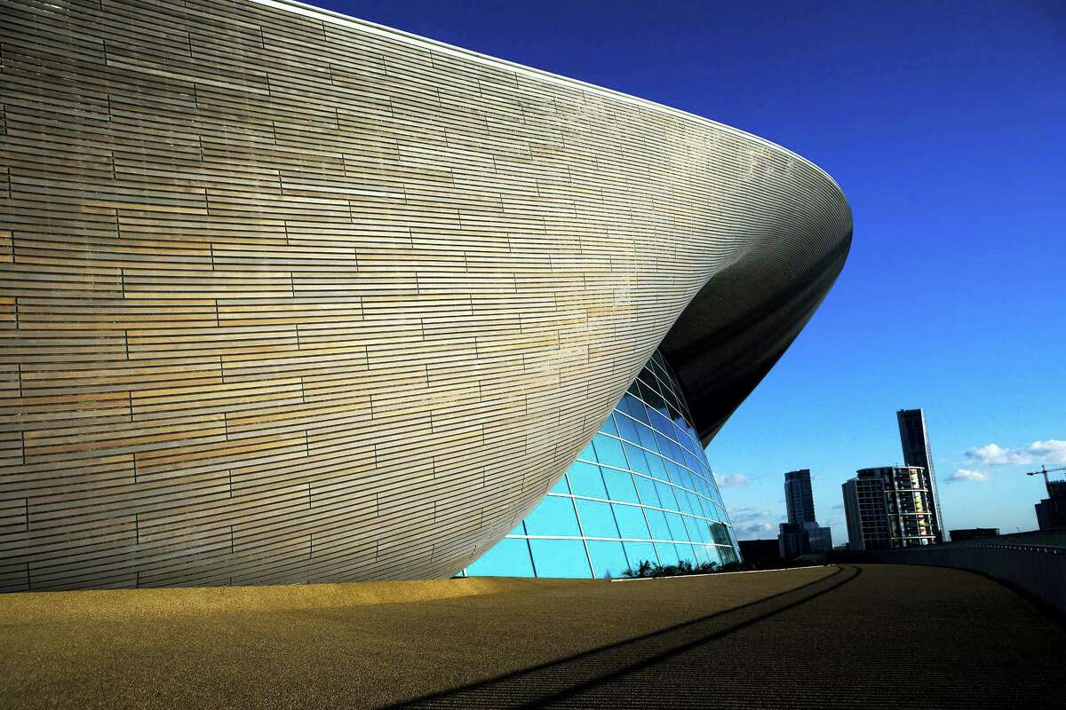 This February file photo shows the London Aquatics Centre built for the 2012 Olympic Games, designed by architect Zaha Hadid.