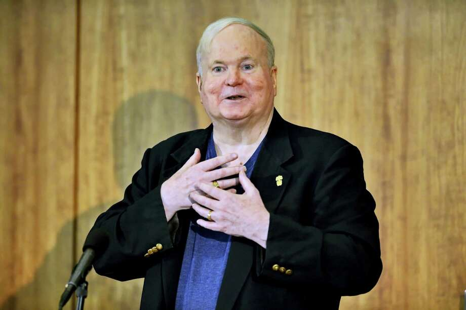 In this May 16, 2014, file photo, author Pat Conroy speaks to a crowd during a ceremony at the Hollings Library in Columbia, S.C. Conroy, whose best-selling novels drew from his own sometimes painful experiences and evoked vistas of the South Carolina coast and its people, has died at age 70. Todd Doughty, executive director of publicity at publisher Doubleday, says Conroy died Friday evening, March 4, 2016, at his home in Beaufort surrounded by family and loved ones. Photo: AP Photo/ Richard Shiro, File    / FR159523 AP