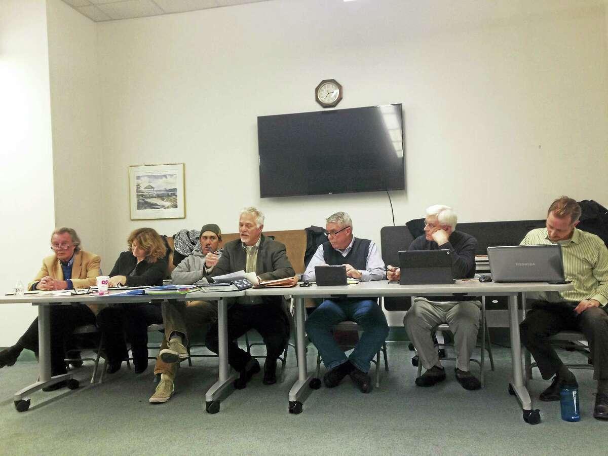 Branford RTM Rules and Ordinance Committee meets. From left, James Walker, Tricia Anderson, Joshua Brooks, Robin Sandler, John Leonard, Peter Hentschel, Chris Sullivan.
