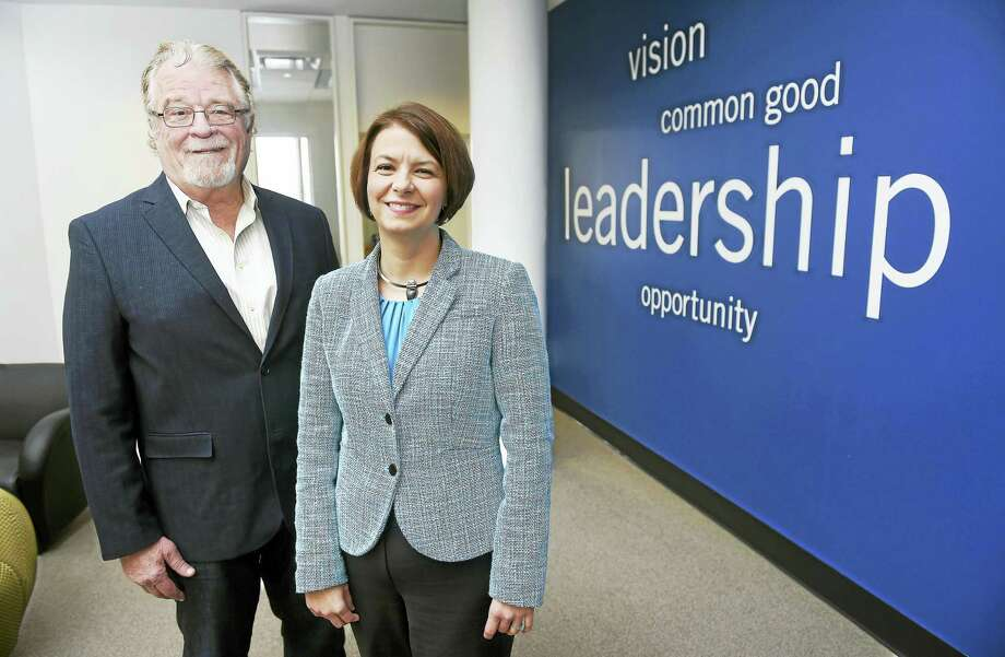 United Way of Greater New Haven President and CEO Jack Healy is photographed with his successor, Jennifer Heath, at United Way offices in New Haven on Friday, Feb. 5, 2016. Photo: ARNOLD GOLD — NEW HAVEN REGISTER