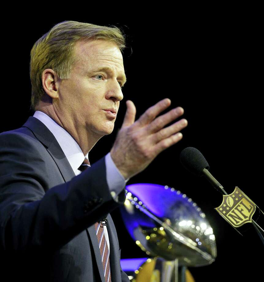 NFL Commissioner Roger Goodell speaks to the media during a news conference on Friday in San Francisco. Photo: Charlie Riedel — The Associated Press   / AP
