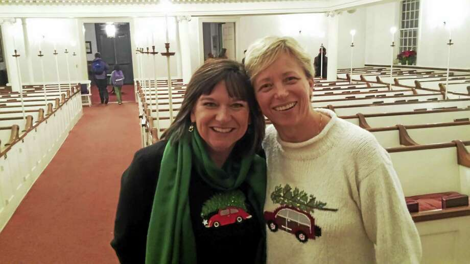 L to R: Rev. Dr. Ginger Brasher-Cunningham and Rev. Sarah Verasco, who are the first female pastors at First Congregational Church in Guilford. Photo: Contributed Photo