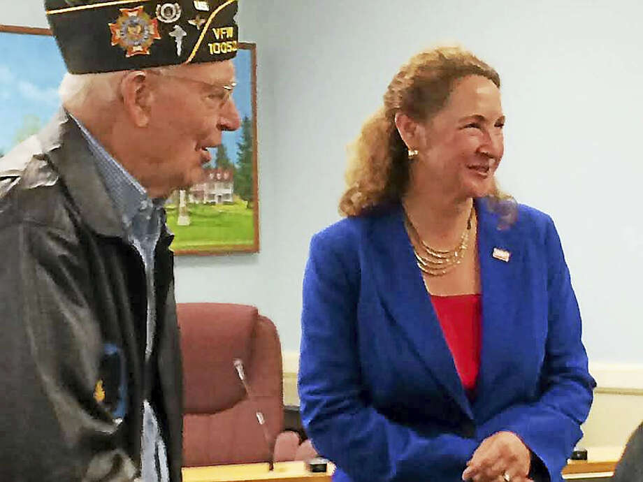 World War II veteran Irvin Daubert and U.S. Rep. Elizabeth Esty Friday after she presented the Cheshire resident with medals he had earned for his service, but never received. Photo: Luther Turmelle — New Haven Register