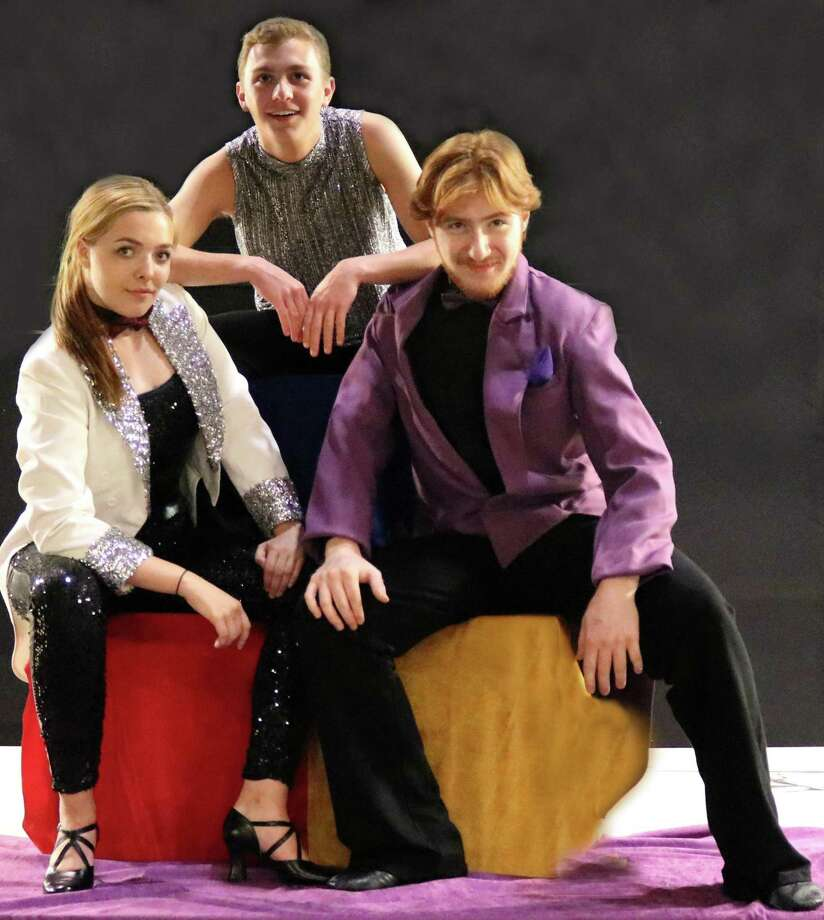 """Pippin"" is on stage at Curtain Call's Kweskin Theatre in Stamford, Wednesday, Aug. 2, through Saturday, Aug. 12. Featured in the Summer Youth Theater production are Kristen Muller, left, Patrick Agonito and Dante DiFederico. Photo: Lou Ursone / Contributed Photo"