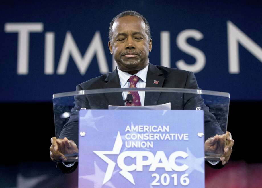 Ben Carson pauses as he speaks during the Conservative Political Action Conference (CPAC), Friday, March 4, 2016, in National Harbor, Md. Carson officially dropped out of the presidential race Friday. Photo: AP Photo — Carolyn Kaster / AP