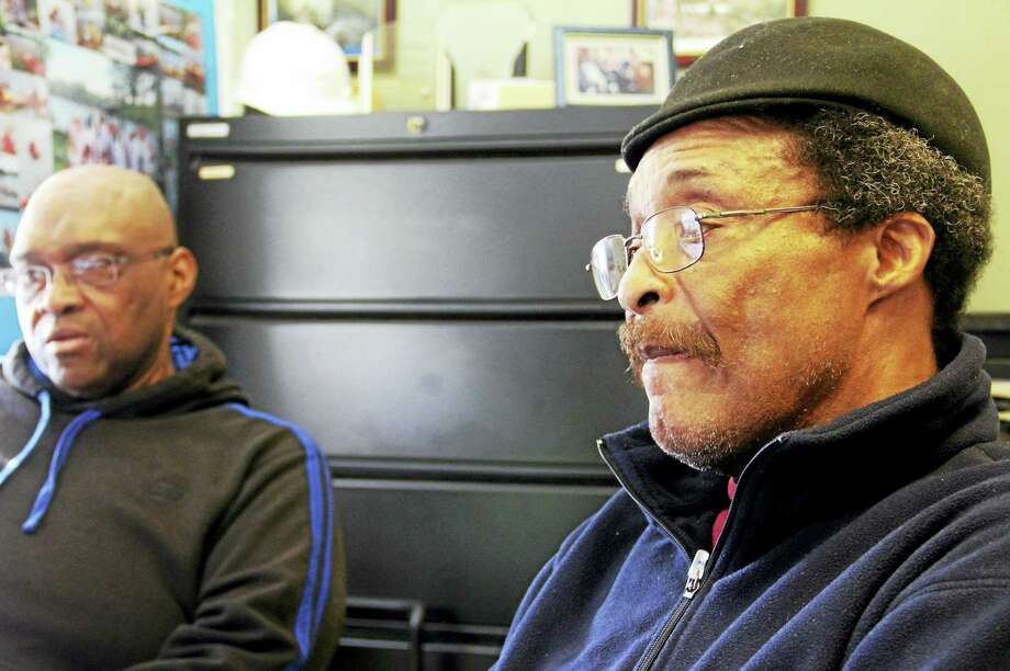 ESTEBAN HERNANDEZ — NEW HAVEN REGITER  John Watts, 68, a U.S. Air Force veteran, right, sits next to Chuck Hope, 54, a U.S. Army veteran, during an interview at the Veterans Affairs Errera Community Center in West Haven. Photo: Journal Register Co.