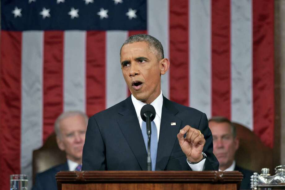 "FILE - In this Jan. 20, 2015 file-pool photo, President Barack Obama delivers his State of the Union address to a joint session of Congress on Capitol Hill in Washington. President Barack Obama is returning to the rancor of the nation's capital Sunday after two weeks of fun and sun in his native Hawaii, saying he's ""fired up"" for his final year in office and ready to tackle unfinished business. His final State of the Union address, scheduled for Jan. 12, 2016, is a high-profile opportunity for the president to try to reassure the public about his national security stewardship after the terrorism attacks in Paris and San Bernardino, Calif. Vice President Joe Biden and then-House Speaker John Boehner of Ohio, listen in the background. Photo: Mandel Ngan, File-Pool Via AP / Pool AFP"