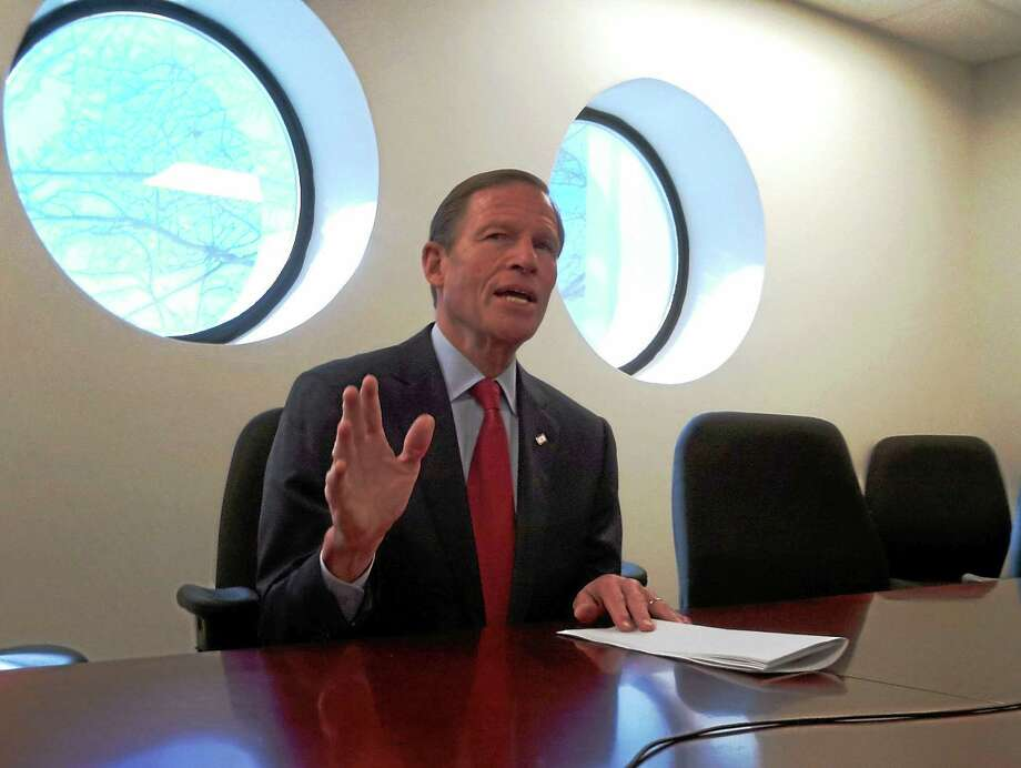 HELEN BENNETT — NEW HAVEN REGISTER FILE PHOTO  U.S. Sen. Richard  Blumenthal makes a point while meeting with the New Haven Register Editorial Board last year. Photo: Journal Register Co.