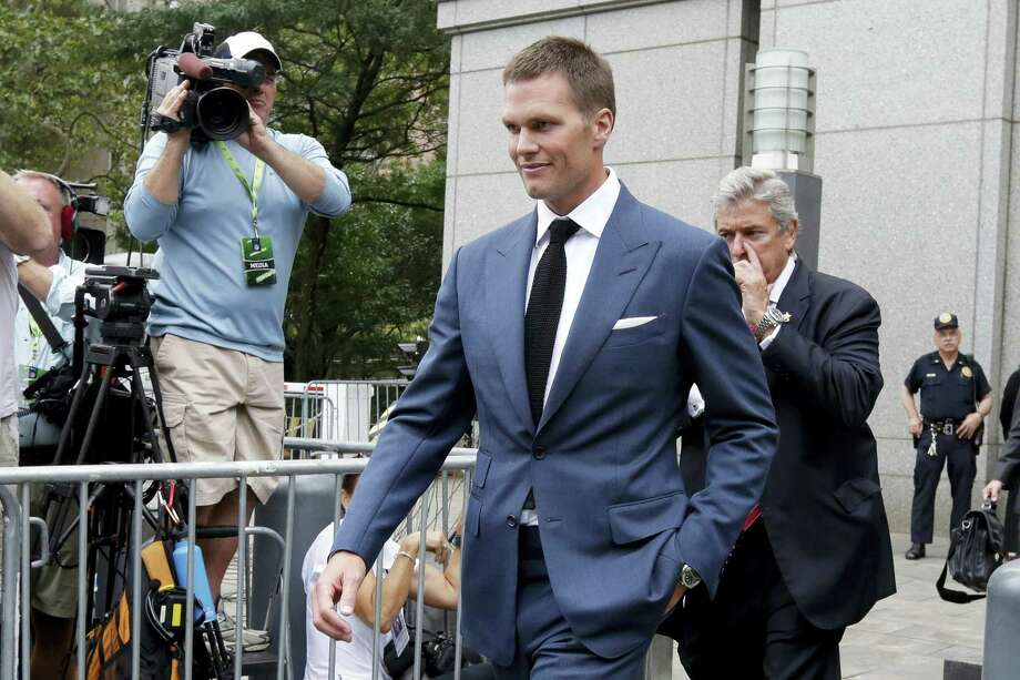 "In this Monday, Aug. 31, 2015, file photo, New England Patriots quarterback Tom Brady leaves federal court, in New York. Lawyers who want Brady to put ""Deflategate"" behind him for good are ready to make their pitch to a New York appeals court. NFL lawyers are asking the 2nd U.S. Circuit Court of Appeals in Manhattan to reinstate Brady's four-game suspension. Photo: File Photo — The Associated Press   / AP"