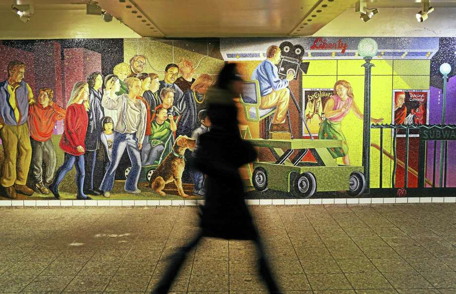 """The Return of Spring/The Onset of Winter"" mural by Jack Beal, seen at the Times Square subway station in Manhattan. Photo: Photos By Yana Paskova — For The Washington Post   / Yana Paskova"