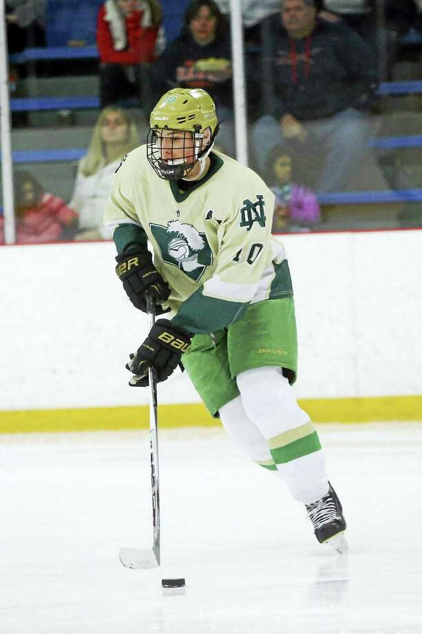 Notre Dame-West Haven defenseman Doug Caliendo scored the deciding goal 25 seconds into overtime in Notre Dame's 3-2 win over Northwest Catholic Wednesday. Photo: CONTRIBUTED PHOTO/NOTRE DAME-WEST HAVEN
