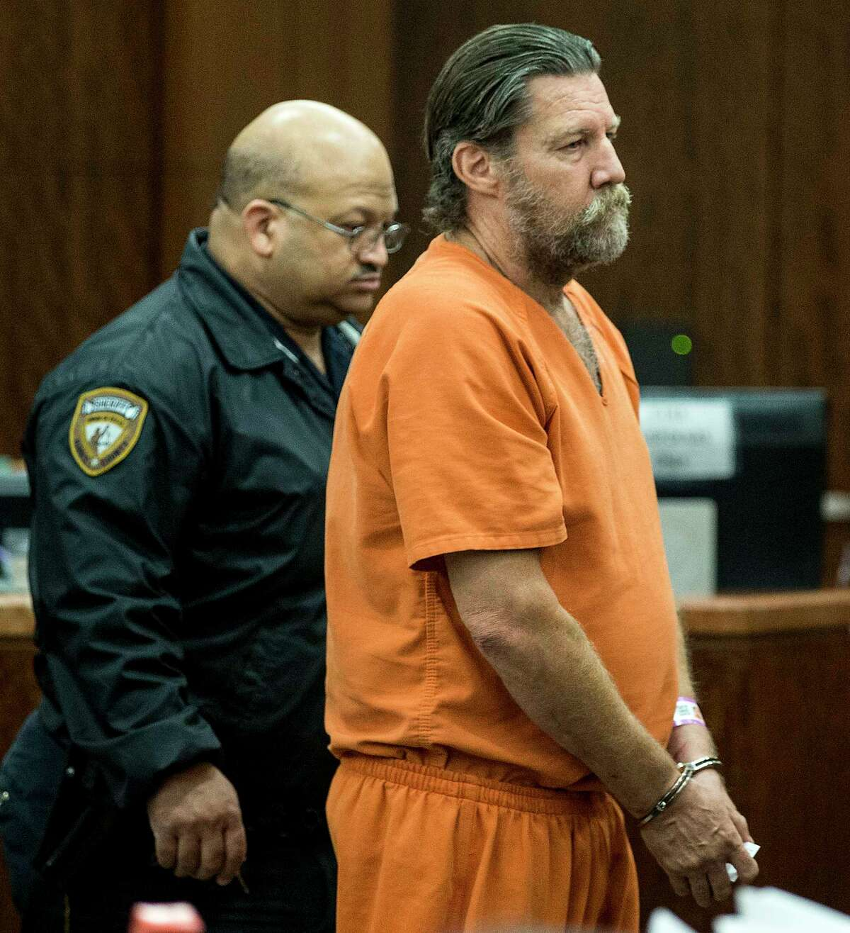 James Hickam, 58, appears in court on Monday, July 24, 2017, in Houston. Hickam is accused of murder after allegedly shooting a bystander while trying to shoot his wife.
